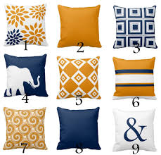 Orange Accessories For Living Room Throw Pillow Covers Navy Orange Pillow Couch Cushion Blue Orange