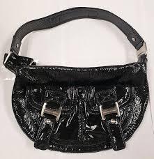 michael kors black crinkle patent leather handbag