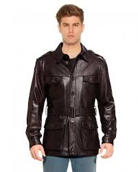 military style leather trench coat with waistbelt front 2 e1449040585831