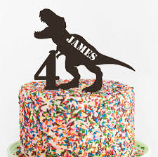 T Rex Birthday Cake Topper Custom Acrylic Cake Topper Laser Cut