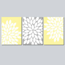 yellow and grey wall canvas