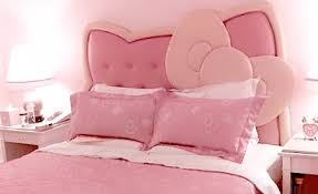 hello kitty bedroom furniture. Kids Room: Contemporary Bedroom Design With Leather Hello Kitty Headboard Bed And Pink Comfy Armchair Also Textured Wallpaper K\u2026 Furniture O