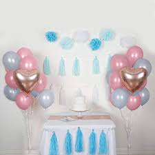 Amazoncom Balsacircle 47 Pcs Blue Pink Foil Latex Balloons Tassels