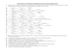 writing and balancing chemical reactions worksheet equations answers reaction