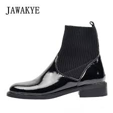 2019 newest stretch knitting socks boots for women patent leather flat heel winter short boots patchwork slim ankle women shoes combat boots from