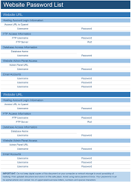 Download a free Website Password List template for Microsoft ...