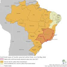 Yellow Fever Chart Yellow Fever Distribution And Areas Of Risk In Brazil As Of