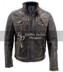 biker vintage classic distressed mens leather jacket front