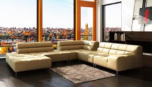 Leather Sofa Design Living Room Sweet Living Room Design With Orange Curtain And Comfy Cream