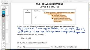a1 1 solving equations level 3 notes