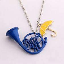 blue french horn necklace pendant
