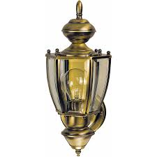 heath zenith 18 87 in h antique brass motion activated outdoor wall light