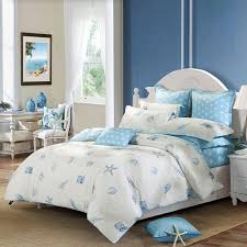 off white and blue ocean style marine life seashell and starfish print beach themed full queen size 100 cotton bedding sets