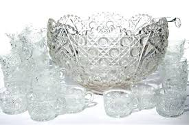 antique crystal punch bowls vintage daisy on pattern glass set huge bowl w lead value with