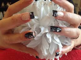 Eye Candy Nails & Training - Acrylic nails with black French and ...