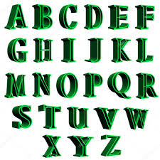 3d alphabet green letters ilration on white background photo by