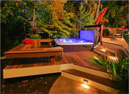 Backyard spa and deck design.