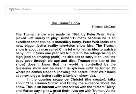 the truman show gcse english marked by teachers com document image preview