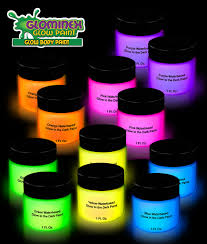 glominex glow body paint 1oz jars orted 12ct