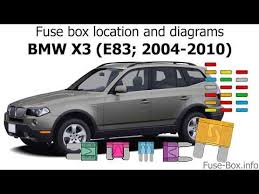 Bmw X3 Fuse Chart Fuse Box Location And Diagrams Bmw X3 E83 2004 2010