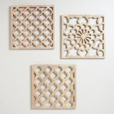 Wood Carved Wall Decor Nathan Carved Wood Wall Panels Set Of 3 World Market
