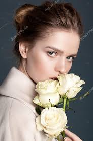 model posing with flowers stock