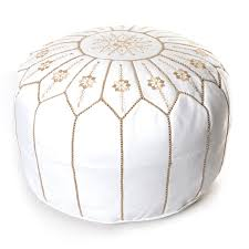 the curated nomad aptos moroccan flower leather pouf round white embroidered ottoman morocco