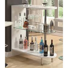 coaster bar units contemporary white glossy bar table with 2 shelves