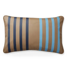 stripe printed leather lumbar pillow cover