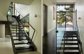 Double Storey Stairs Designs Two Storey Glass House Architecture In Modern Design For