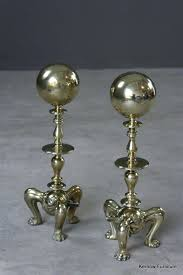 antique brass andirons solid pair