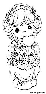 Precious Moments Girls Smile With Heart Coloring Pages