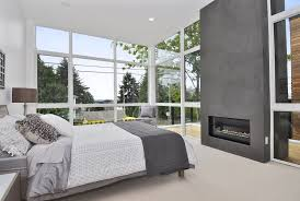 the fireplace was inset to give it the appearance that it is just floating within the structure