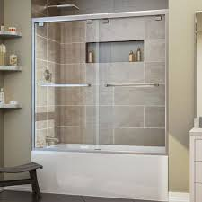 cozy bathtub with dreamline encore framed bypass tub door and dreamline shower doors with rain shower