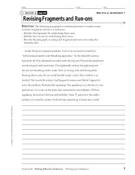 Sentence And Sentence Fragments Worksheets Collection Of Run On And
