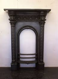 original red antique victorian cast iron small bedroom fireplace em080