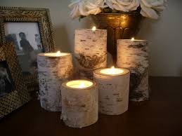 ... Attractive Accessories For Table Centerpiece Decoration With Birch Bark  Candle Holders : Beautiful Image Of Dining ...