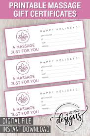 Christmas Gift Coupon Massage Gift Certificate Gift Certificate Printable Gift