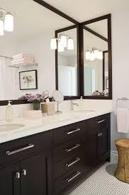 white bathroom cabinets gray walls. jennifer worts design modern espresso bathroom with double vanity, chrome pulls hardware white cabinets gray walls