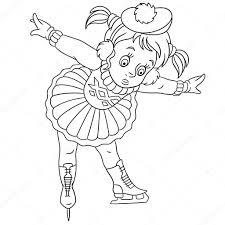 Kleurplaat Cartoon Meisje Leren Hoe Skaten Ontwerp Voor Kinderen