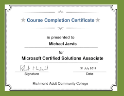 Mcsa 13 14 Course Completion Certificate Michael Jarvis