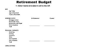 Retirement Budget Worksheet Template Excel Website Design