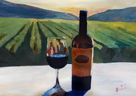 Napa Valley Painting - Napa Valley Wine Bottle With Red Wine by M Bleichner