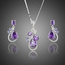 purple necklace set purple cubic