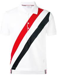thom browne short sleeve pocket polo with red white and blue diagonal stripe in fine