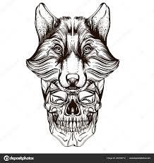 череп маску волка наброски векторные иллюстрации изолированные белом
