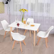 Costway 5 Piece Mid Century Dining Set Rectangular Table And 4