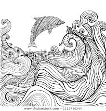 Dolphin Ocean Waves Coloring Page Children Stock Vector Royalty