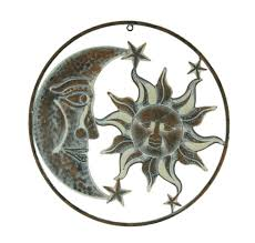 benzara metal sun moon wall decor art