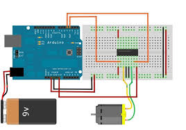 how to drive dc motor using l293d arduino community of robots note using the below circuit will power your motor 9v so you should use a 9v or a higher voltage motor